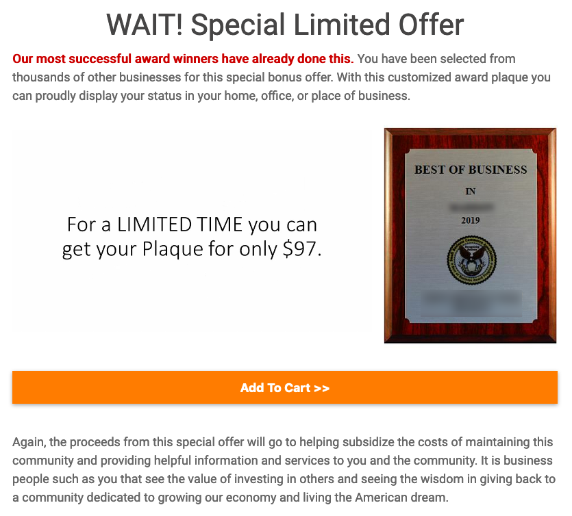 plaque offer